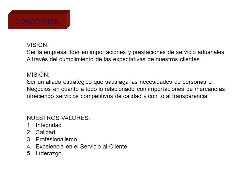 CONOCENOS VISIÓN: Ser la empresa líder en importaciones y prestaciones de servicio aduanales.