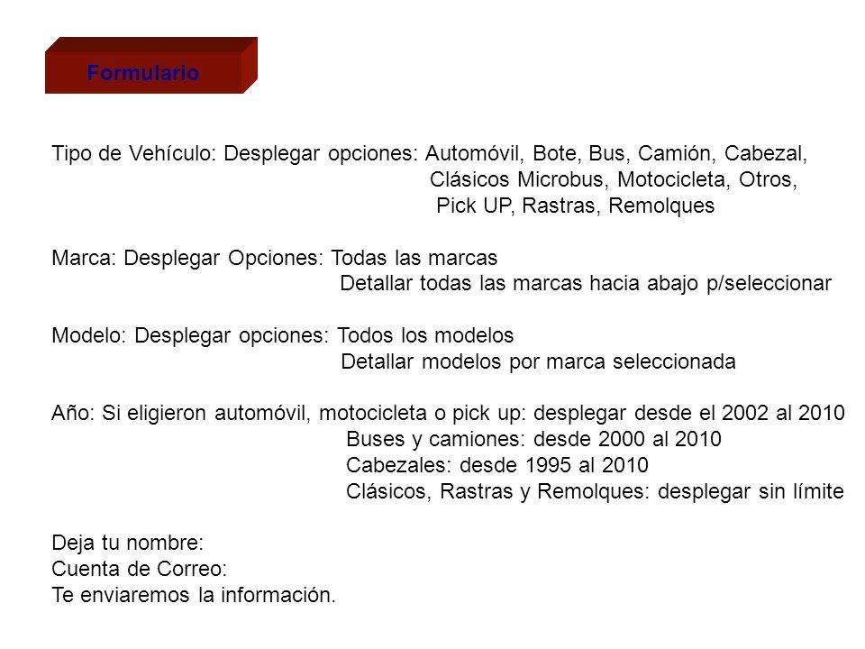 Formulario Tipo de Vehículo: Desplegar opciones: Automóvil, Bote, Bus, Camión, Cabezal, Clásicos Microbus, Motocicleta, Otros,