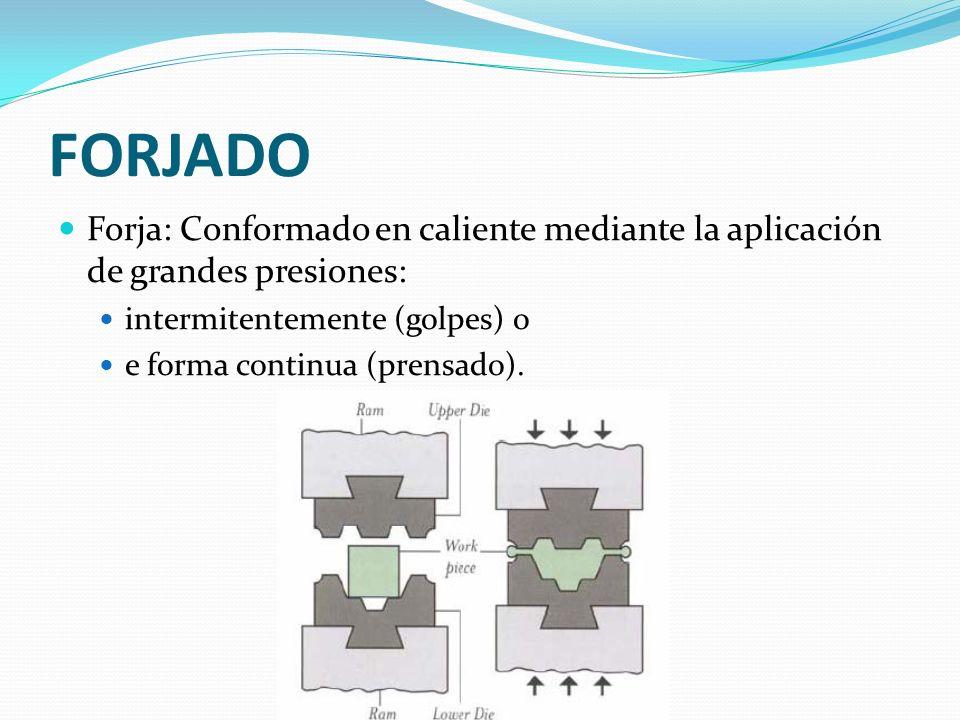 FORJADO Forja: Conformado en caliente mediante la aplicación de grandes presiones: intermitentemente (golpes) o.