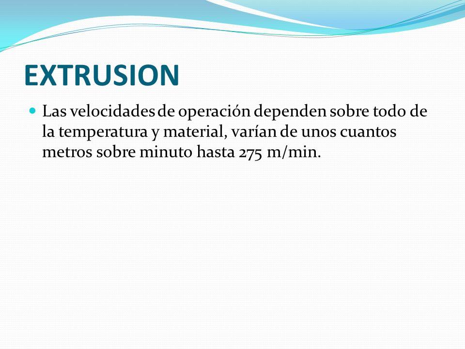 EXTRUSION Las velocidades de operación dependen sobre todo de la temperatura y material, varían de unos cuantos metros sobre minuto hasta 275 m/min.