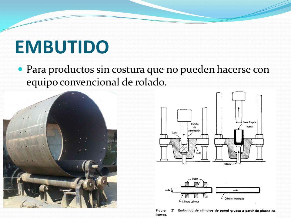 EMBUTIDO Para productos sin costura que no pueden hacerse con equipo convencional de rolado.