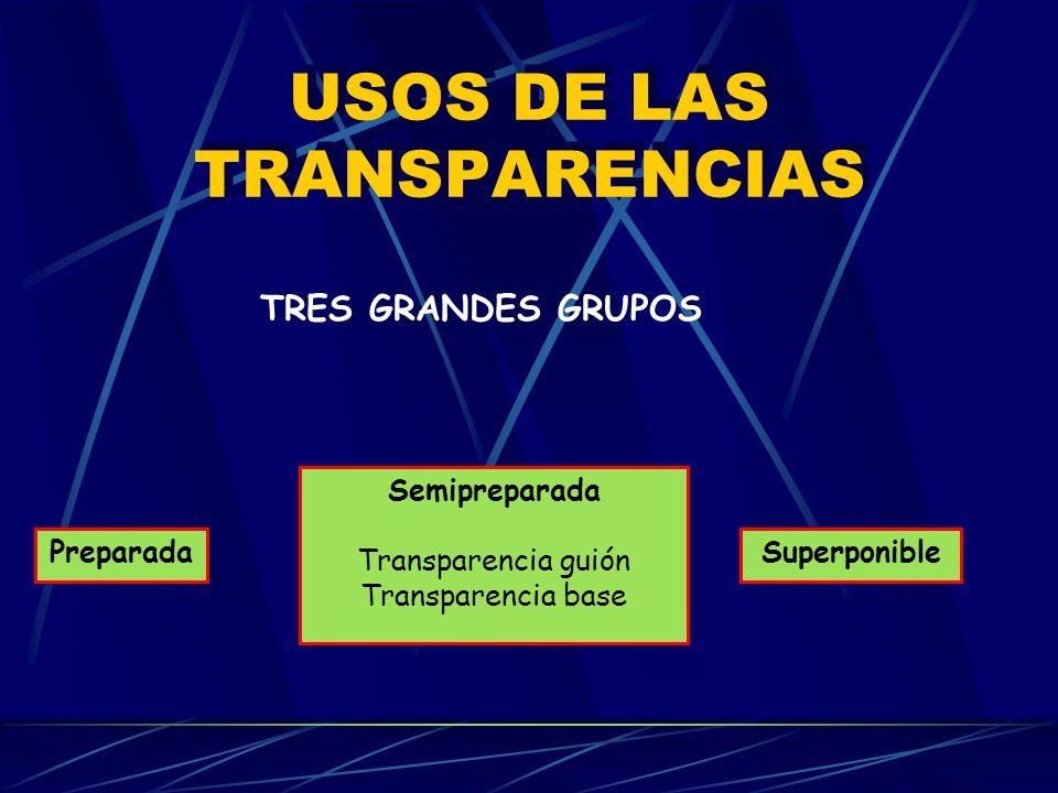 USOS DE LAS TRANSPARENCIAS