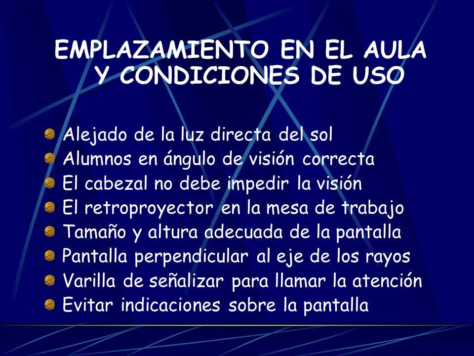 EMPLAZAMIENTO EN EL AULA Y CONDICIONES DE USO