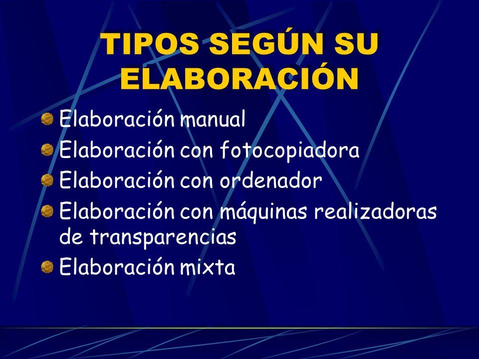 TIPOS SEGÚN SU ELABORACIÓN