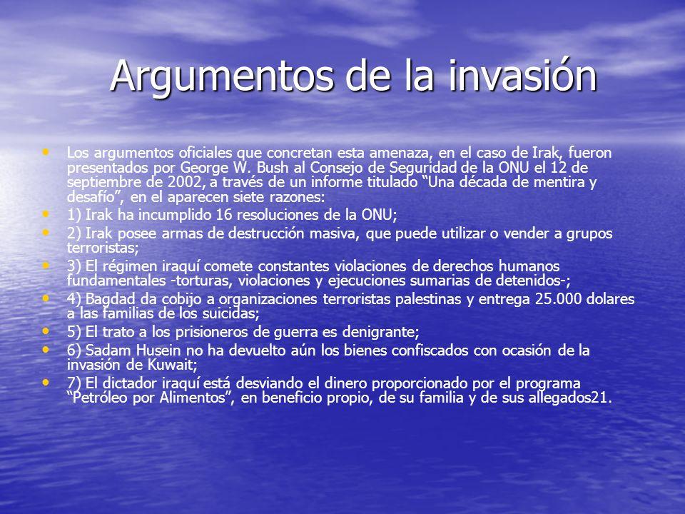 Argumentos de la invasión
