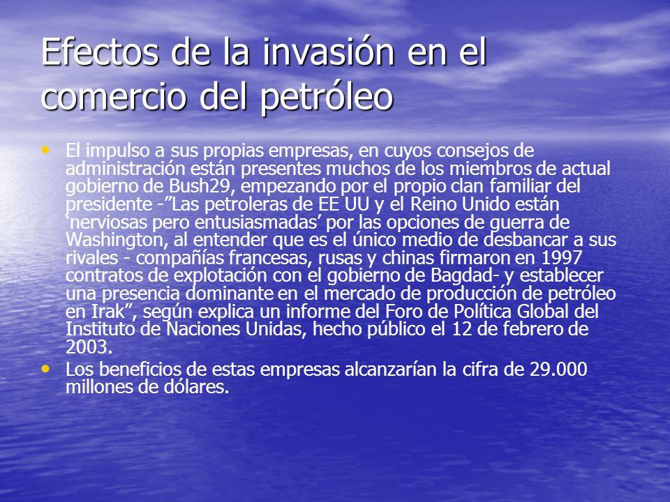 Efectos de la invasión en el comercio del petróleo