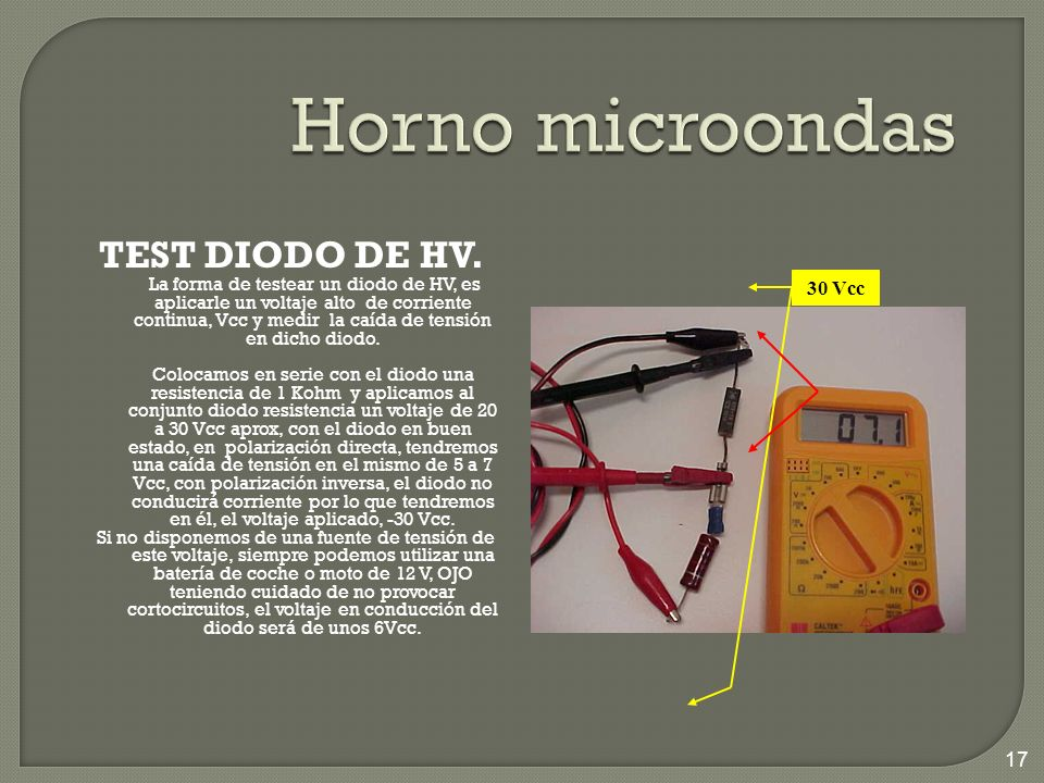 Horno microondas TEST DIODO DE HV. 30 Vcc