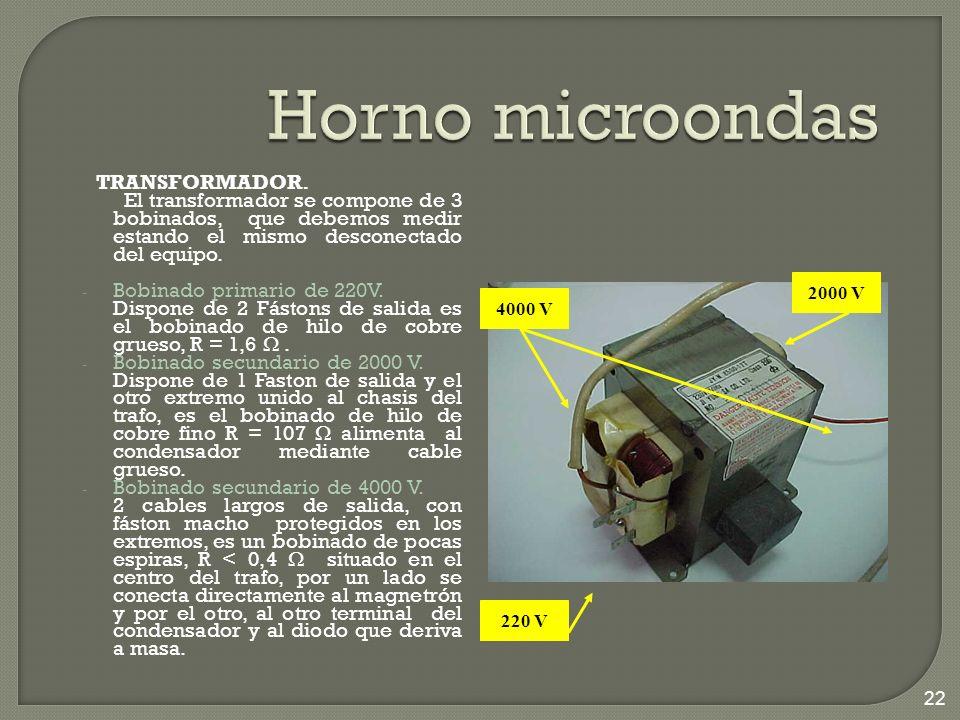 Horno microondas TRANSFORMADOR. El transformador se compone de 3 bobinados, que debemos medir estando el mismo desconectado del equipo.