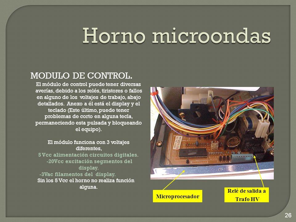 Horno microondas MODULO DE CONTROL. Relé de salida a Microprocesador