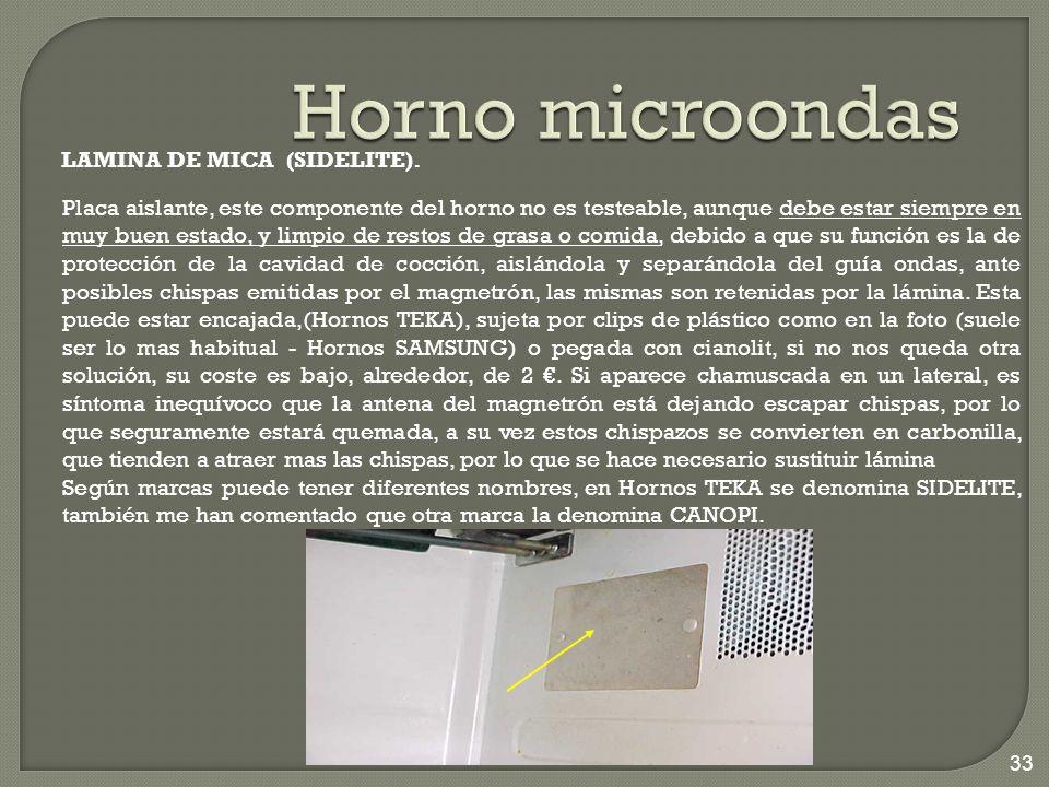 Horno microondas LAMINA DE MICA (SIDELITE).