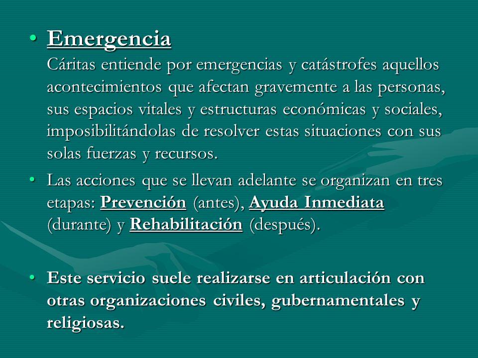 Emergencia Cáritas entiende por emergencias y catástrofes aquellos acontecimientos que afectan gravemente a las personas, sus espacios vitales y estructuras económicas y sociales, imposibilitándolas de resolver estas situaciones con sus solas fuerzas y recursos.