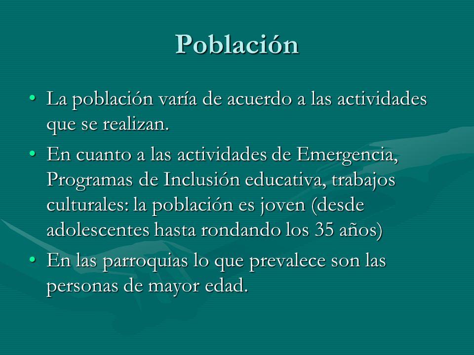 Población La población varía de acuerdo a las actividades que se realizan.