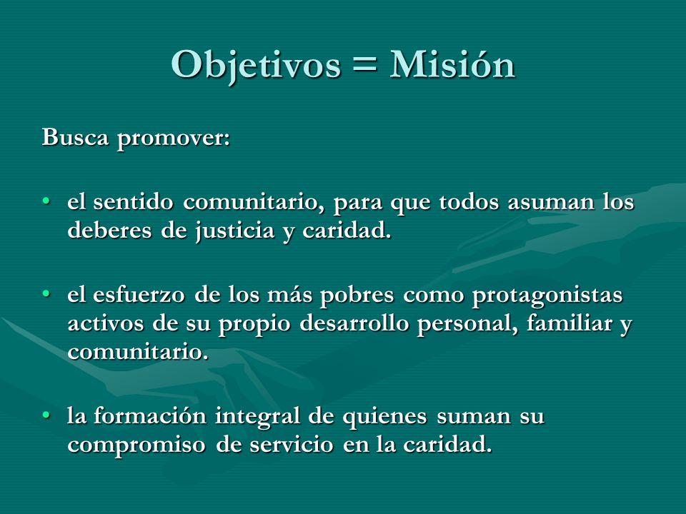 Objetivos = Misión Busca promover: