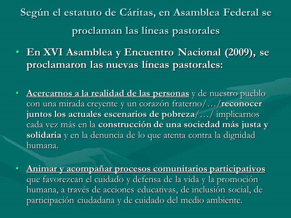 Según el estatuto de Cáritas, en Asamblea Federal se proclaman las líneas pastorales