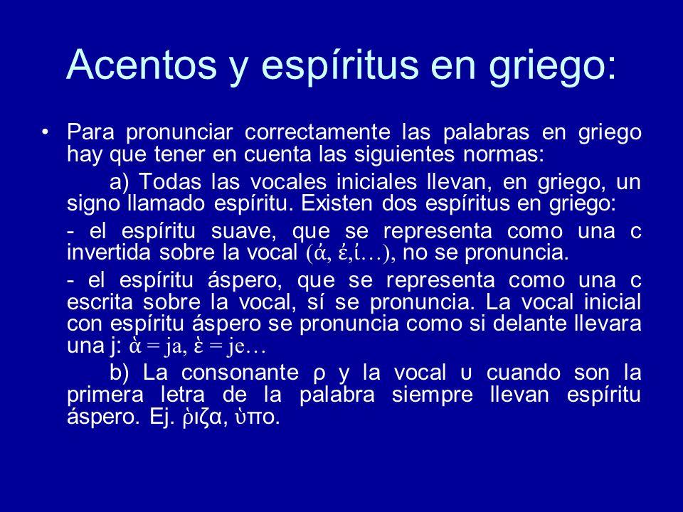 Acentos y espíritus en griego: