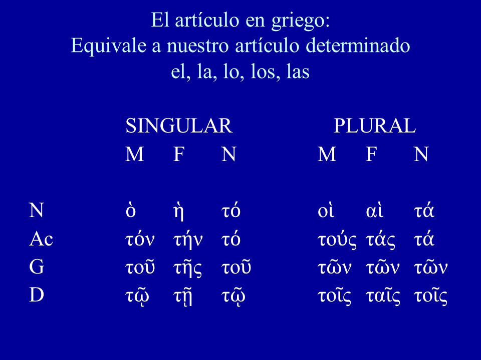 El artículo en griego: Equivale a nuestro artículo determinado el, la, lo, los, las