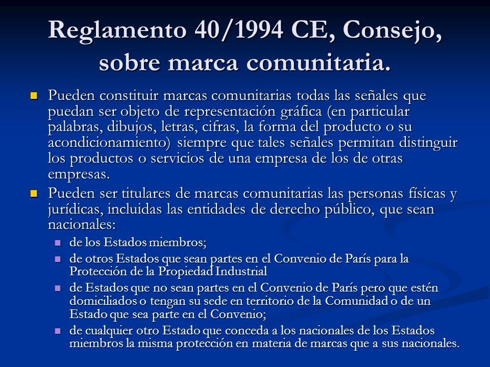 Reglamento 40/1994 CE, Consejo, sobre marca comunitaria.