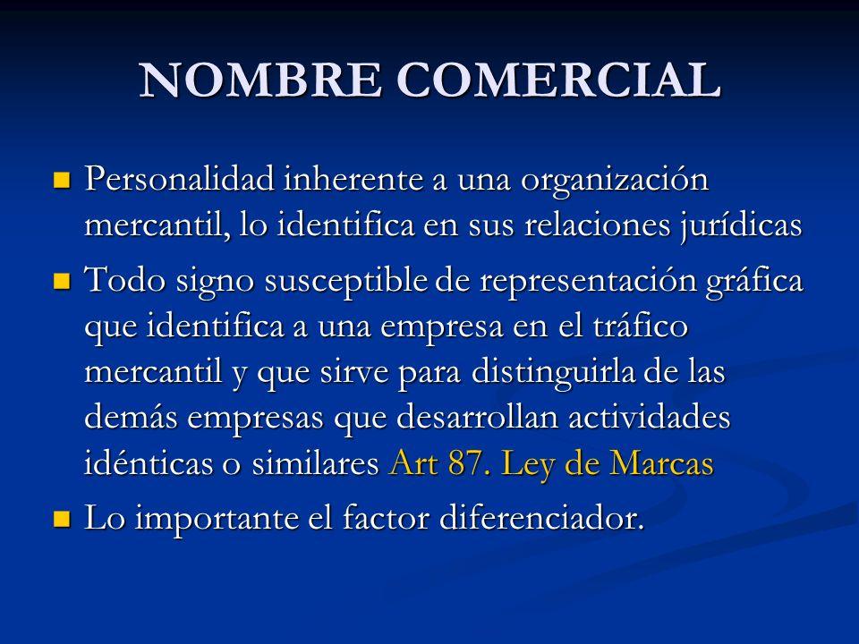 NOMBRE COMERCIAL Personalidad inherente a una organización mercantil, lo identifica en sus relaciones jurídicas.
