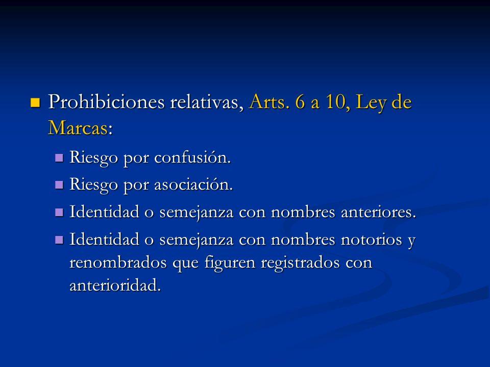 Prohibiciones relativas, Arts. 6 a 10, Ley de Marcas: