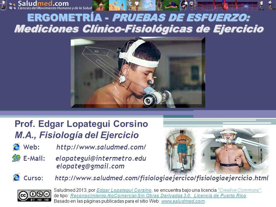ERGOMETRÍA - PRUEBAS DE ESFUERZO: Mediciones Clínico-Fisiológicas de Ejercicio