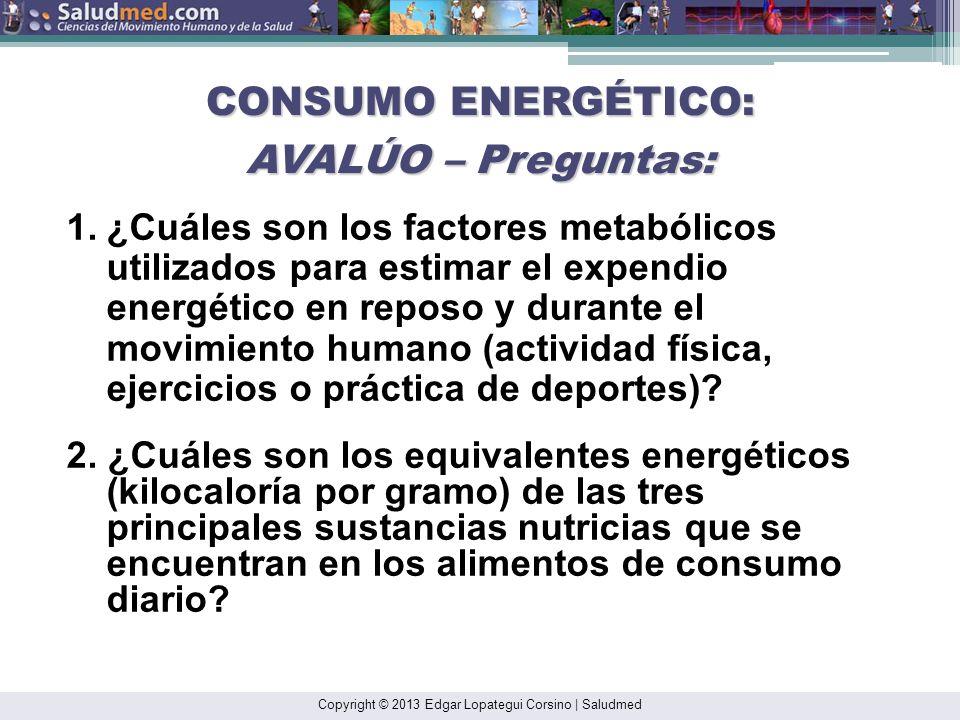 CONSUMO ENERGÉTICO: AVALÚO – Preguntas: