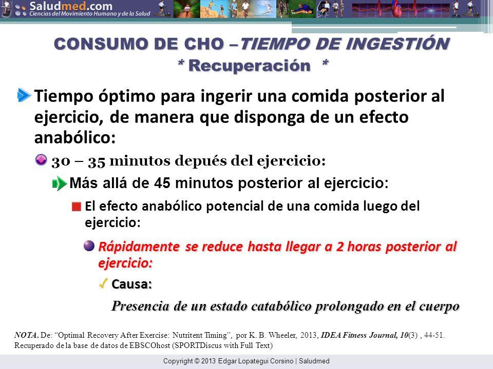 CONSUMO DE CHO –TIEMPO DE INGESTIÓN