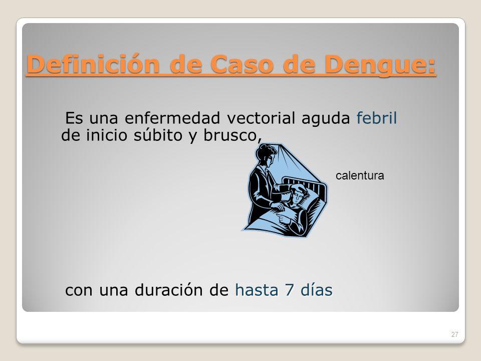Definición de Caso de Dengue: