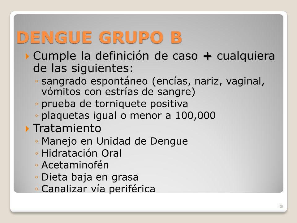 DENGUE GRUPO B Cumple la definición de caso + cualquiera de las siguientes:
