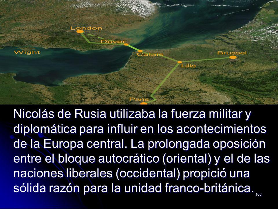 Nicolás de Rusia utilizaba la fuerza militar y diplomática para influir en los acontecimientos de la Europa central.