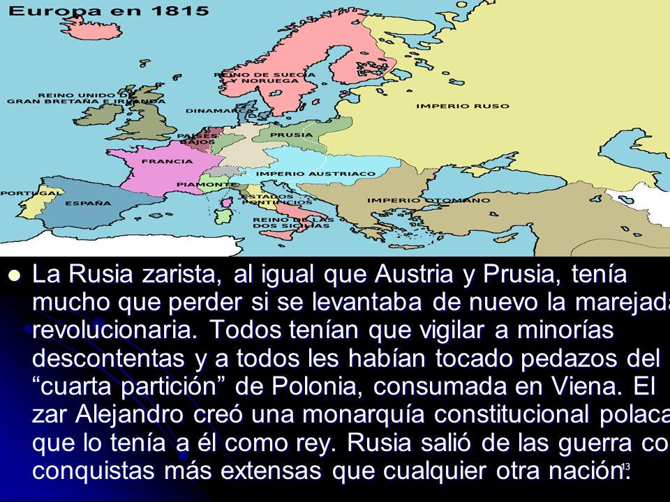 La Rusia zarista, al igual que Austria y Prusia, tenía mucho que perder si se levantaba de nuevo la marejada revolucionaria.