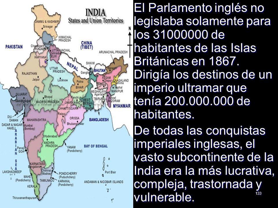El Parlamento inglés no legislaba solamente para los 31000000 de habitantes de las Islas Británicas en 1867. Dirigía los destinos de un imperio ultramar que tenía 200.000.000 de habitantes.