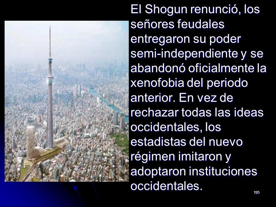 El Shogun renunció, los señores feudales entregaron su poder semi-independiente y se abandonó oficialmente la xenofobia del periodo anterior.