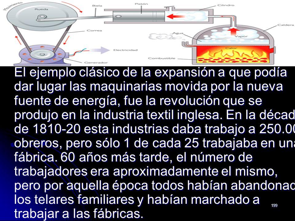 El ejemplo clásico de la expansión a que podía dar lugar las maquinarias movida por la nueva fuente de energía, fue la revolución que se produjo en la industria textil inglesa.