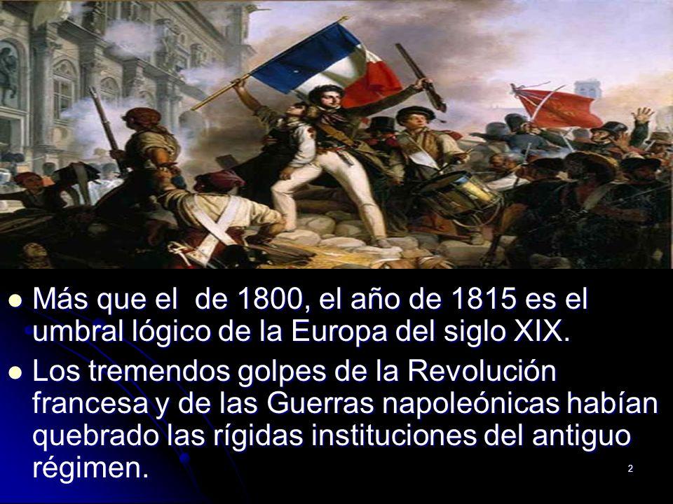Más que el de 1800, el año de 1815 es el umbral lógico de la Europa del siglo XIX.