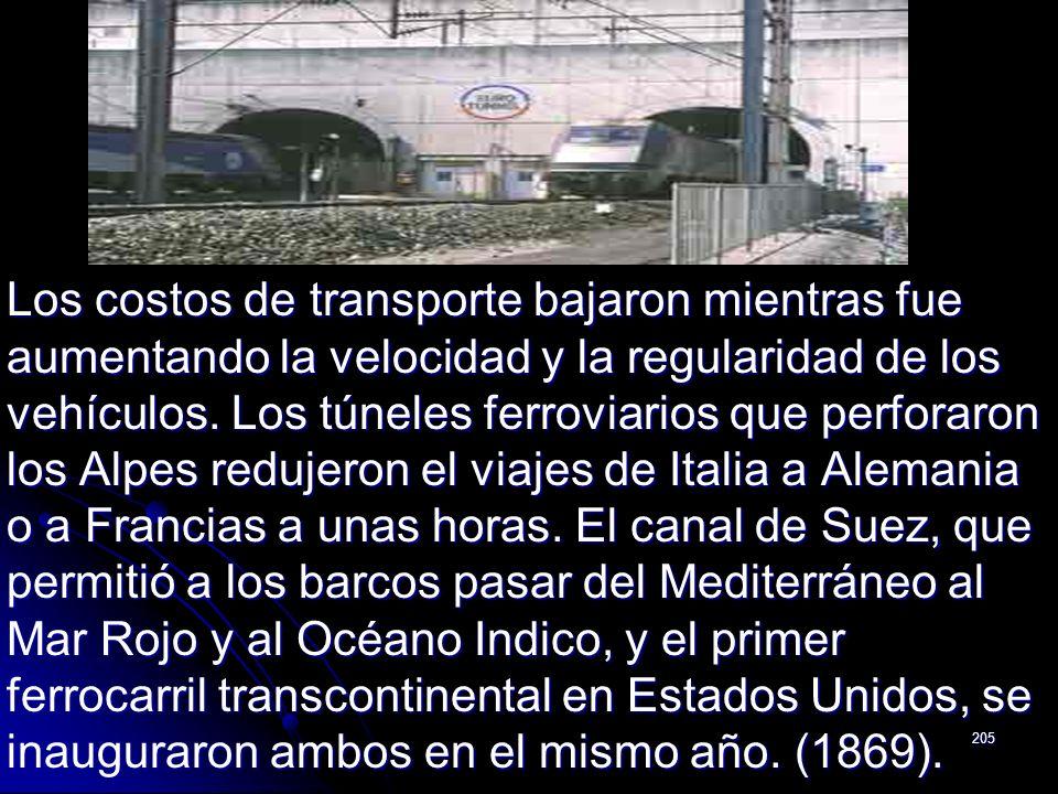 Los costos de transporte bajaron mientras fue aumentando la velocidad y la regularidad de los vehículos.