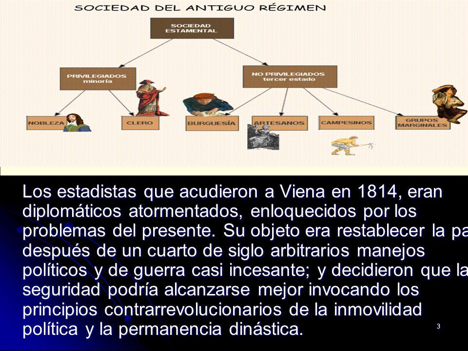 Los estadistas que acudieron a Viena en 1814, eran diplomáticos atormentados, enloquecidos por los problemas del presente.