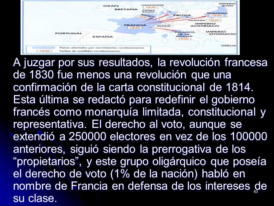 A juzgar por sus resultados, la revolución francesa de 1830 fue menos una revolución que una confirmación de la carta constitucional de 1814.