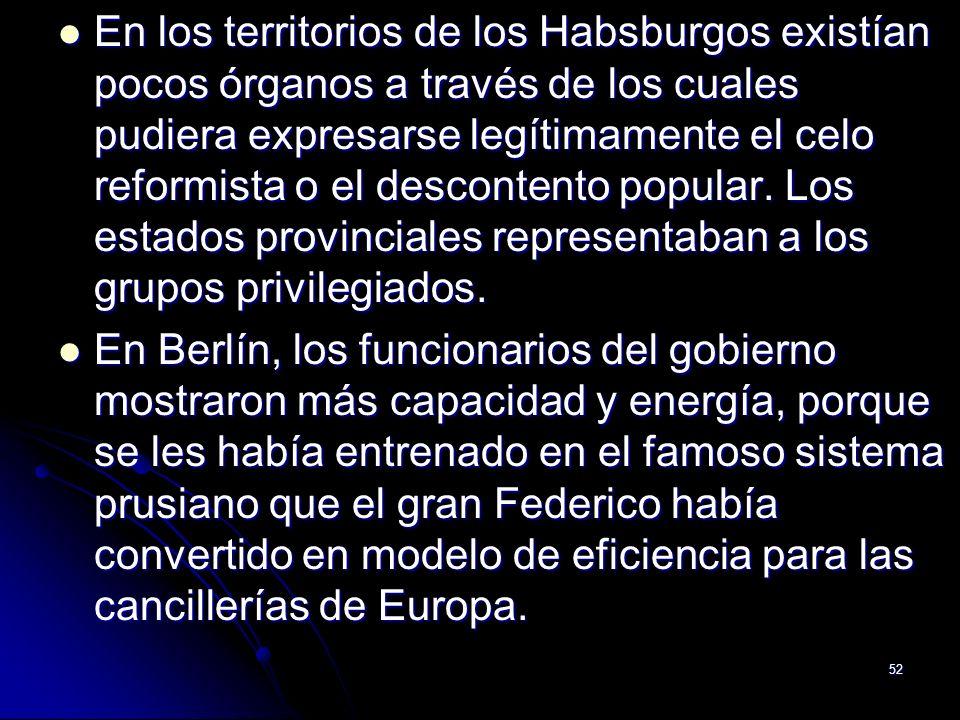 En los territorios de los Habsburgos existían pocos órganos a través de los cuales pudiera expresarse legítimamente el celo reformista o el descontento popular. Los estados provinciales representaban a los grupos privilegiados.