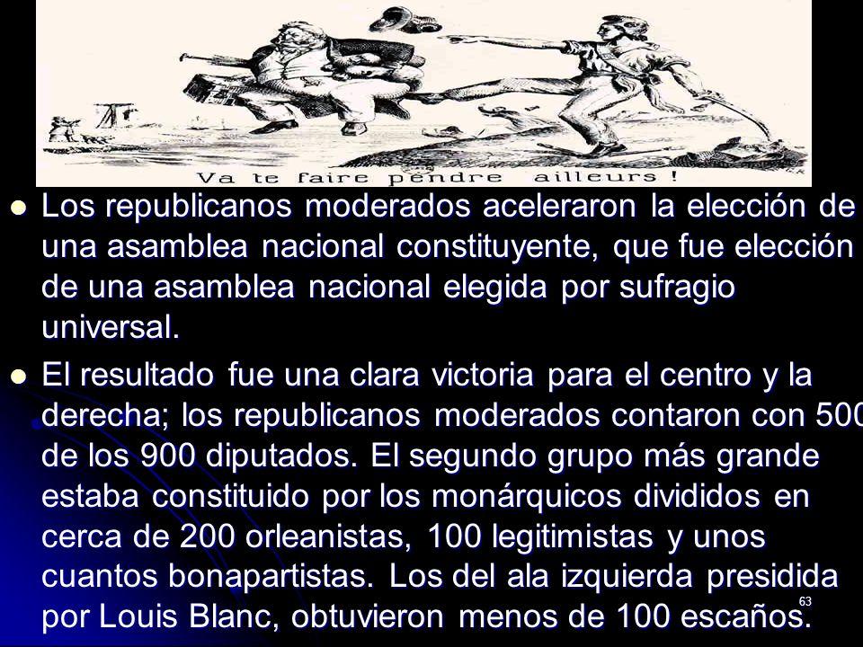 Los republicanos moderados aceleraron la elección de una asamblea nacional constituyente, que fue elección de una asamblea nacional elegida por sufragio universal.