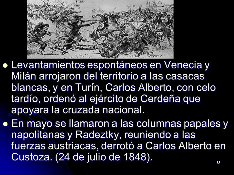 Levantamientos espontáneos en Venecia y Milán arrojaron del territorio a las casacas blancas, y en Turín, Carlos Alberto, con celo tardío, ordenó al ejército de Cerdeña que apoyara la cruzada nacional.