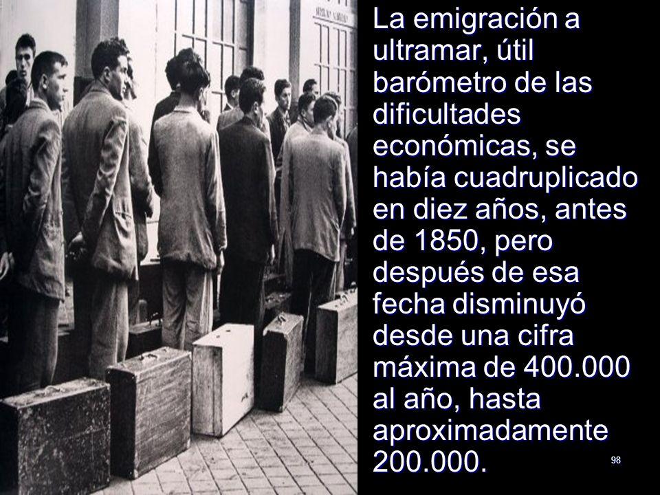 La emigración a ultramar, útil barómetro de las dificultades económicas, se había cuadruplicado en diez años, antes de 1850, pero después de esa fecha disminuyó desde una cifra máxima de 400.000 al año, hasta aproximadamente 200.000.
