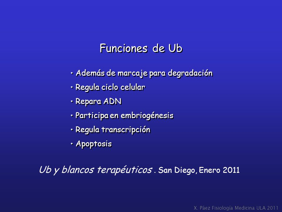 Funciones de Ub Ub y blancos terapéuticos . San Diego, Enero 2011