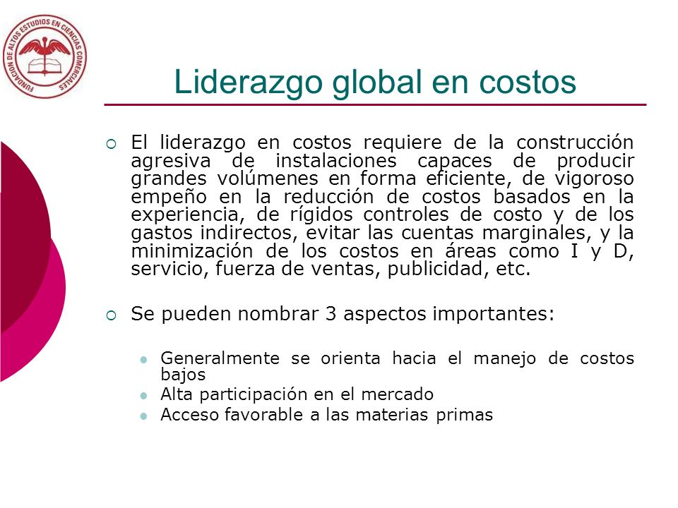 Liderazgo global en costos