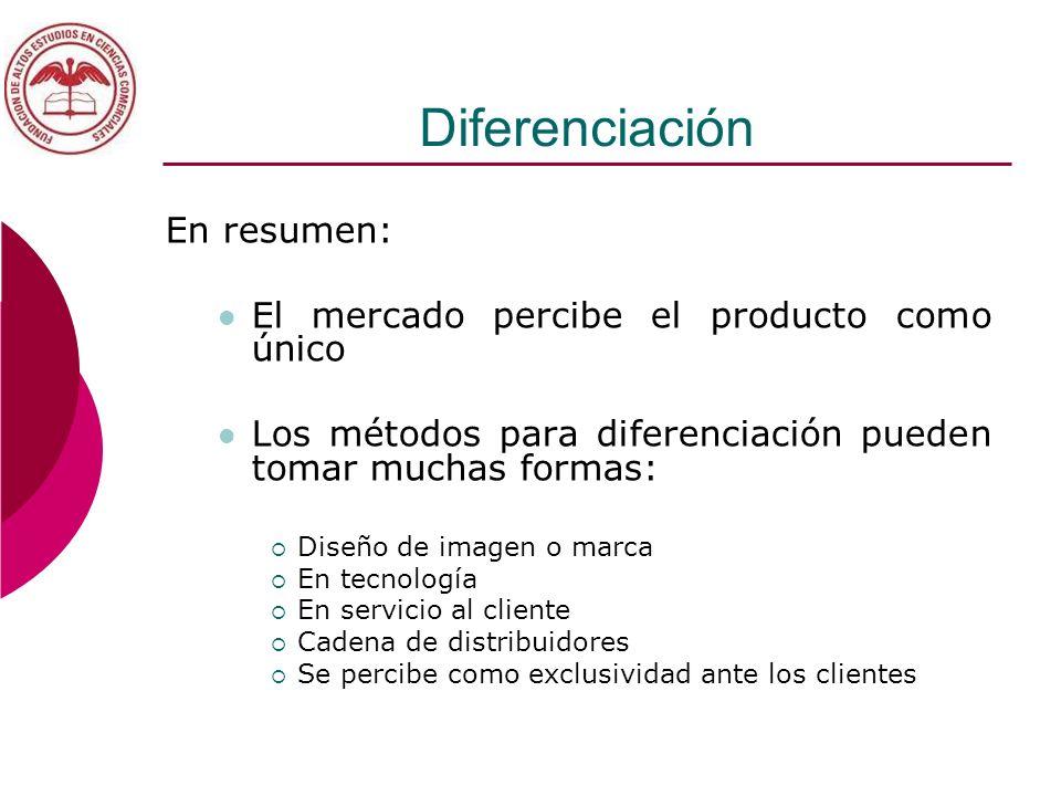 Diferenciación En resumen: El mercado percibe el producto como único
