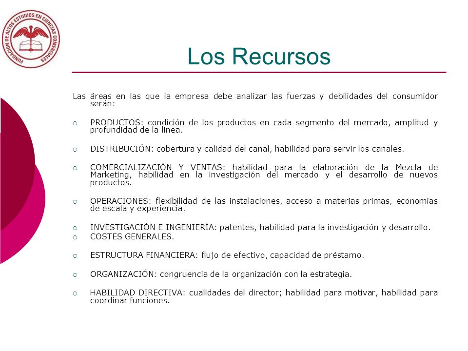Los Recursos Las áreas en las que la empresa debe analizar las fuerzas y debilidades del consumidor serán: