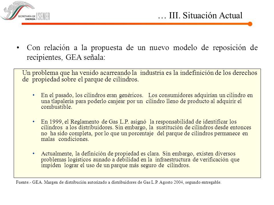 … III. Situación Actual Con relación a la propuesta de un nuevo modelo de reposición de recipientes, GEA señala:
