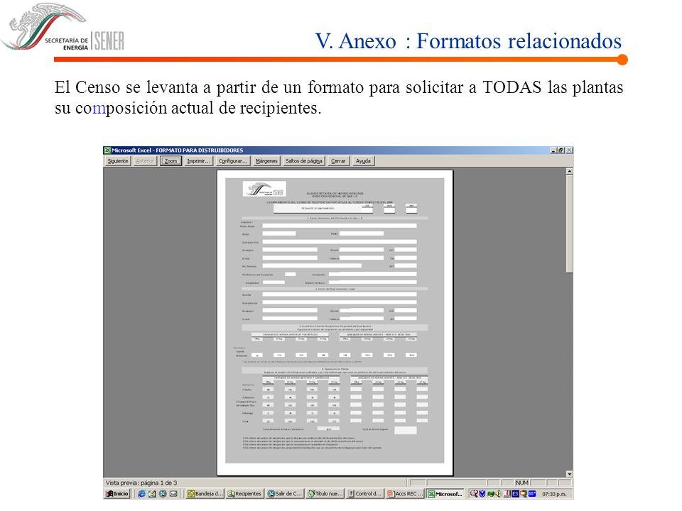 V. Anexo : Formatos relacionados