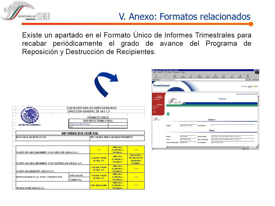 V. Anexo: Formatos relacionados