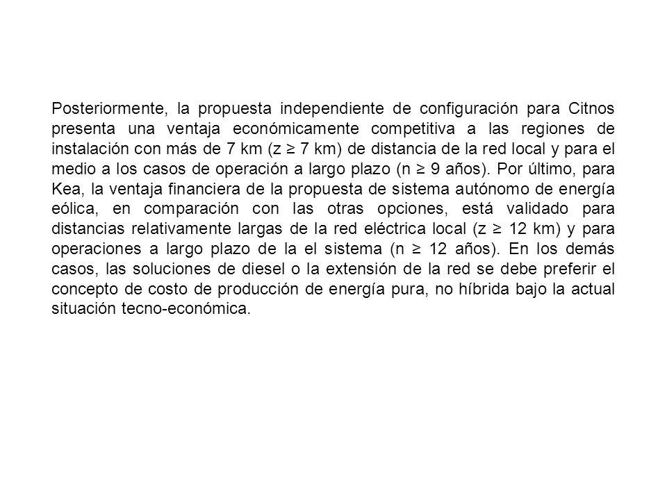Posteriormente, la propuesta independiente de configuración para Citnos presenta una ventaja económicamente competitiva a las regiones de instalación con más de 7 km (z ≥ 7 km) de distancia de la red local y para el medio a los casos de operación a largo plazo (n ≥ 9 años).