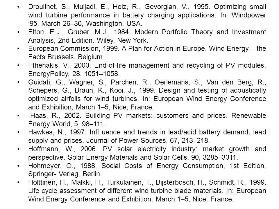 •. Drouilhet, S. , Muljadi, E. , Holz, R. , Gevorgian, V. , 1995
